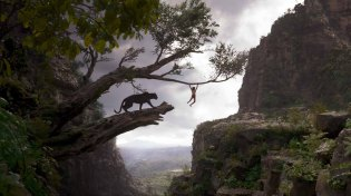 THE JUNGLE BOOK (Pictured) BAGHEERA and MOWGLI. ©2016 Disney Enterprises, Inc. All Rights Reserved.